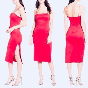 4SI3NNA Soren Sleeveless Side Slit Dress Neon Pink